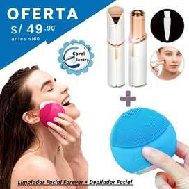Combo de Limpieza facial incluye limpiador forever y depilador de rostro y bozo, luce regia en todo momento