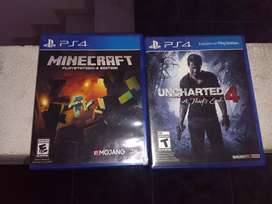 Minecraft y uncharted 4 ps4