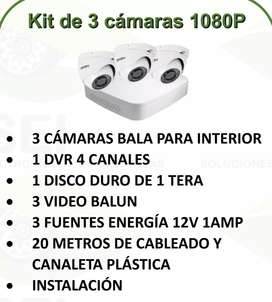 Kit Hd 1080p 3 Cámaras de Seguridad Cctv