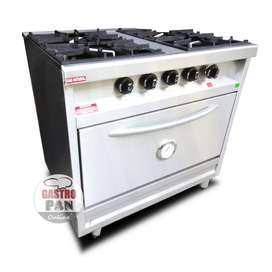 Cocina Industrial 4 Hornallas Horno Pizzero Rovesco 84 Cm Ancho