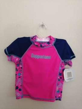 Camiseta De Baño Para Niña Con Protección Solar - Americana