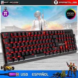 Teclado Gamer Mecanico Primus BALLISTA 100T USB Español LED