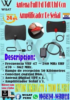 Antena Full Hd Tdt Uhf Con Amplificador De Señal