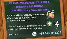 CLASES PARTICULARES, TALLERES y ASESORÍAS en el área de Matemáticas, electricidad y electrónica.