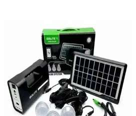 Kit panel solar reflector LED recargable 3 bombillos