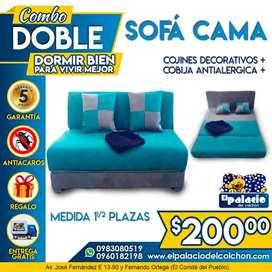 SOFÁCAMAS Plaza y Media / SOFA CAMAS ((*PROMOCIONES*)) ((*Mas COJINES + COBIJA + ENVÍO*)) **LLame Palacio Del Colchon**