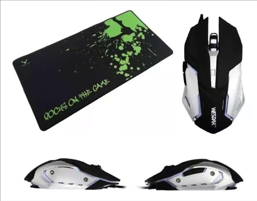 Mouse gamer x2 con luz LED más pad mouse xl 0