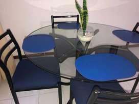 Mesa comedor redondo + sillas 4 puestos