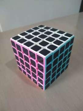 Cubo rubik stickers fibra de carbono 5x5 juego didáctico para todas la edades