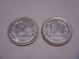 2 monedas de 50 cent. (1.957/61)