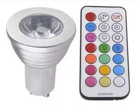 Bombillo reflector multicolor (RGB)  control remoto 3 watts luz led GU10