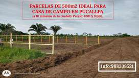 Venta de parcelas de 500m2 en Pucallpa para casa de campo.