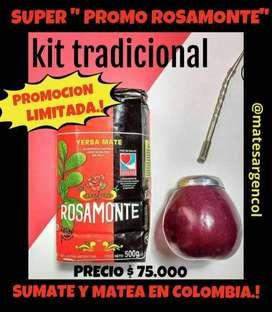 """SUPER """"PROMO ROSAMONTE""""! MATE CALABAZA, CON BOMBILLA y YERBA MATE 500 GRAMOS!"""