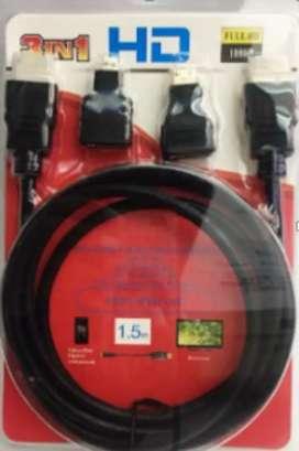 Cable HDMI 3 en 1 1,5m + 2 adaptadores