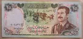 Billete Iraq 25 dinares Saddam Hussein