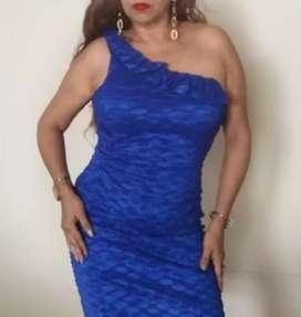 Vestido azul, stretch con hombro asimétrico, elegante y casual