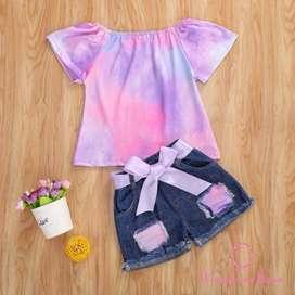 Conjunto Blusa Tie Dye/Short Jean
