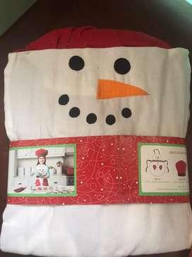 Set Delantal navideño para niño o niña