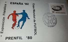 """Sobre Argentina """"España 82"""" copa mundial de fútbol con estampilla"""