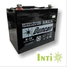 Duncan Batería Sellada Agm Libre Mantenimiento 12 Volts 75 Amperios
