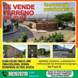 Venta de terreno de 650.22 m2 en Chosica-Lurigancho; Urbanización San Antonio de Carapongo.