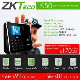 reloj biometrico k50/control de asistencia k50/zkteco