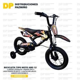 Bicicleta aro 12 tipo moto GTI