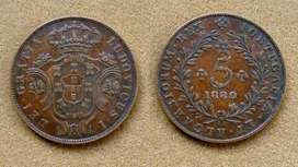 Monedas de 5 reis Islas Azores bajo administración de Portugal 1880