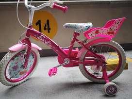 Bicicleta Infantil 12 pulgadas Barbie casi nueva