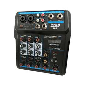MIXER CONSOLA DE 2 CANALES PRO DJ U4 INTERFAZ USB GRABACION