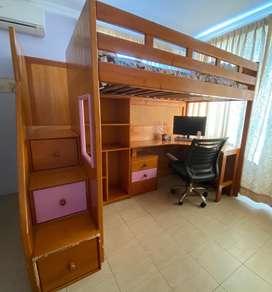 Cama linea cypress con escritorio, bodega y cajoneras