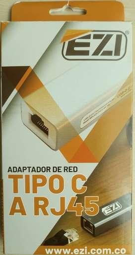 Convertidor Ethernet; Adaptador de red tipo C a RJ45 hembra