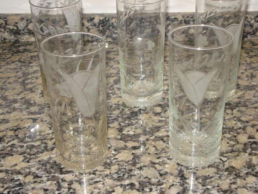 12 Vasos Tragos Largos Tallados 0