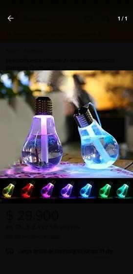 Humificador humidificador ambientador difusor de aromas esencias vaporizador tipo forma  de bombillo con led