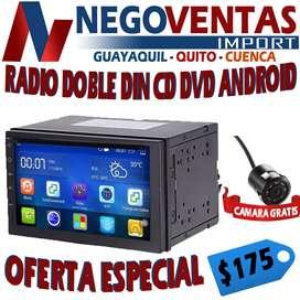 RADIO DOBLE ANDROID LECTOR CD DV  OPCION CAMARA DE RETRO