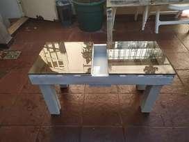 Mesa ratona madera maciza vidrio 10 mm.
