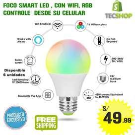FOCO SMART LED CON WIFI RGB CONTROLE DE SU CELULAR