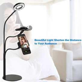 Pedestal con luz led Lampara con soporte de celular y microfono