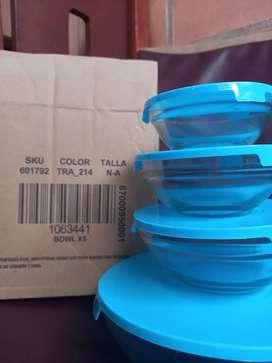 Set x 4 bowl vidrio con tapa