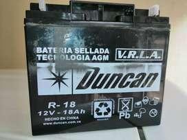 Baterias Duncan Excelente estado, solo una semana de uso R18 12V-18AH