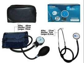 kit tensiometro analago, medidor presión arterial de brazo, estetoscopio y estuche