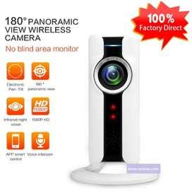 Cámara Ip WIFI 1080P Panorámica Cámara 180°  Audio Doble Vía Visión Nocturna