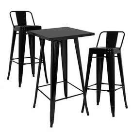 Mesa Tolix Alta 80x80 Negro Ideal Para Bar Cafeteria Barra