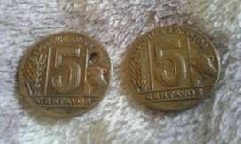 Moneda Argentina De Bronce 5 Centavos Año 1944