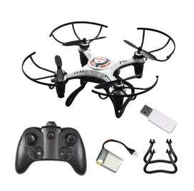 Drone recargable luz led control remoto