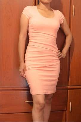 Vestido Corto - Color Salmón - Talla M