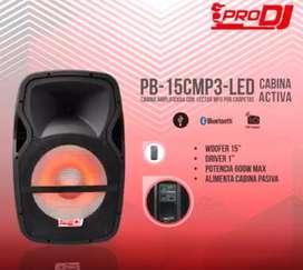 Cabina activa con parlante de 15″  pulgadas 600 Wmax, alimenta pasiva, iluminación LED.