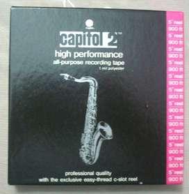 """CAPITOL 2 TYPE 962 Cintas Magnetofónicas 5"""" 900 ft. Empaque Cerrado Made in USA Lote de 17 Unidades"""