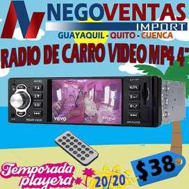 RADIO DE 1 DIN MP4 CON PANTALLA DE 4 PULGADAS BLUETOOTH USB SD AUX FM PARA CARROS
