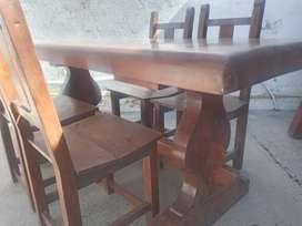 Mesa con 4 silla algarrobo